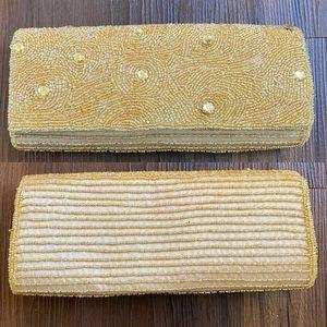 Gold yellow ivory beaded jewel clutch bag